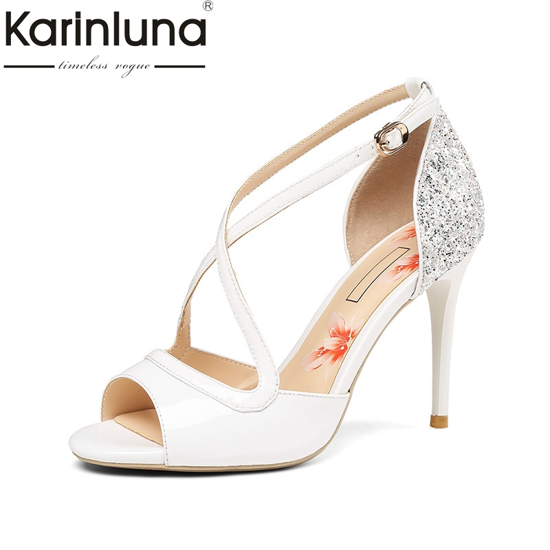 Karinluna 2018 Summer Brand Lady Genuine Leather Women Sandals Lady Glitters Party Shoes Woman Elegant High Heels Date Shoe phyanic 2017 gladiator sandals gold silver shoes woman summer platform wedges glitters creepers casual women shoes phy3323