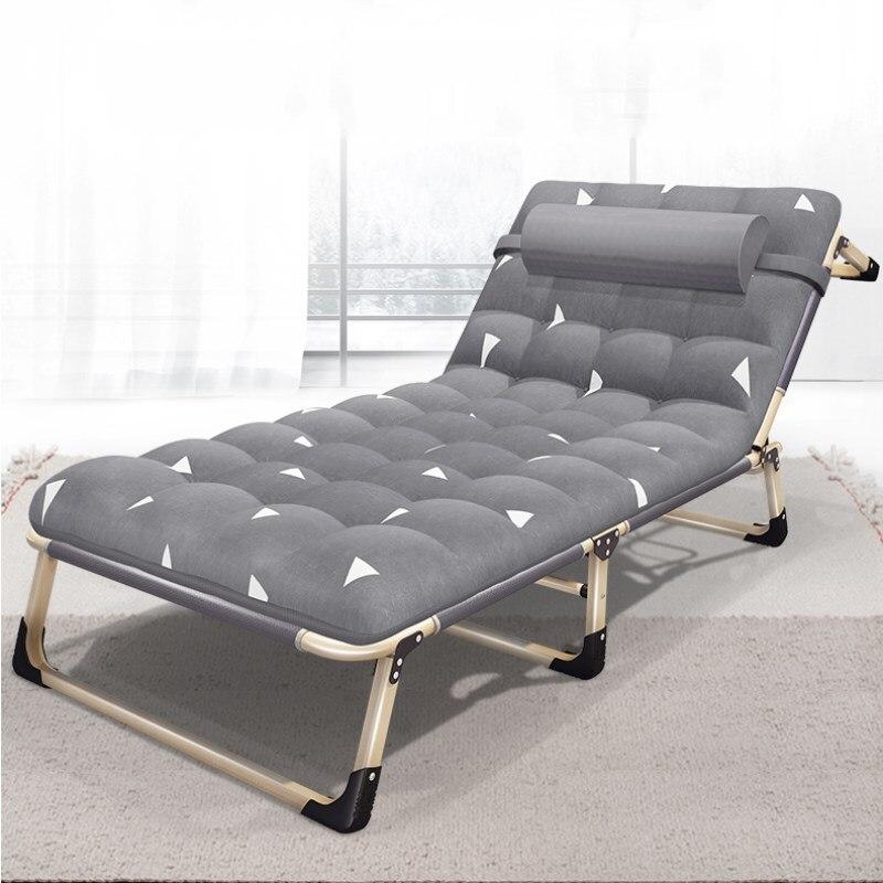 A1 lit Simple pliant cadre en acier solide déjeuner lit Simple Chaise longue avec appuie-tête pour sieste adulte bureau escorte mars