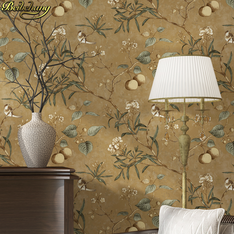 beibehang papel de parede 3d American retro apple tree flowers bird wallpaper for walls 3 d