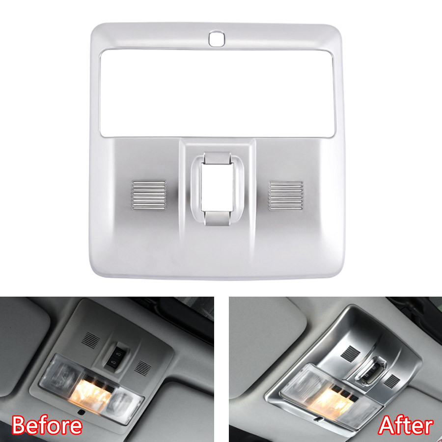 YAQUICKA Car Interior Front and Rear Reading Light Lamp Frame Trim Cover For Land Rover Discovery 4 LR4 2010-2016 Accessories for land rover discovery 4 lr4 accessories abs dark wood grain center console ac outlet cover trim sticker for lhd 2pcs set