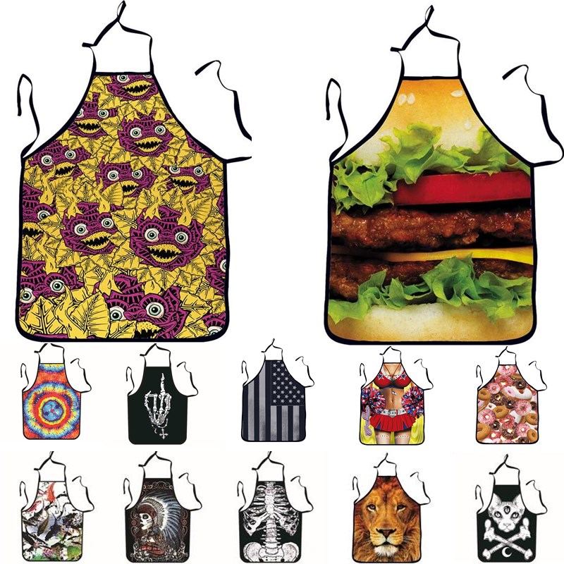 1Pcs Colorful Skull Printed Adult Apron Bibs Home Cooking Baking Party Funny Cleaning Aprons Kitchen Accessories