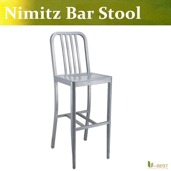 Free shipping U BEST Emeco Navy chair Nimitz Aluminum Bar Stool Indoor or Outdoordesigner Apartment counter stool