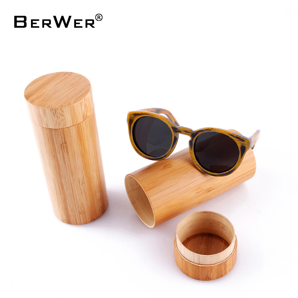 BerWer round Frame Bamboo Sunglass 2018 Fashion Wooden Sunglasses Men Women Sun Glasses