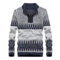 Autumn And Winter Men S Knit Sweater Men Slim Models Warm Cotton Luxury Fashion Casual Striped