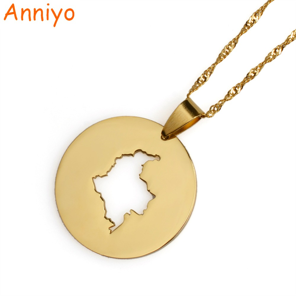 Anniyo Gold Color Round Map of Colombia Pendant & Necklaces for Women Colombian Jewelry Gifts #015921 anniyo saudi arabia necklaces african gold color pendant dubai middle east jewelry gifts for women 119206
