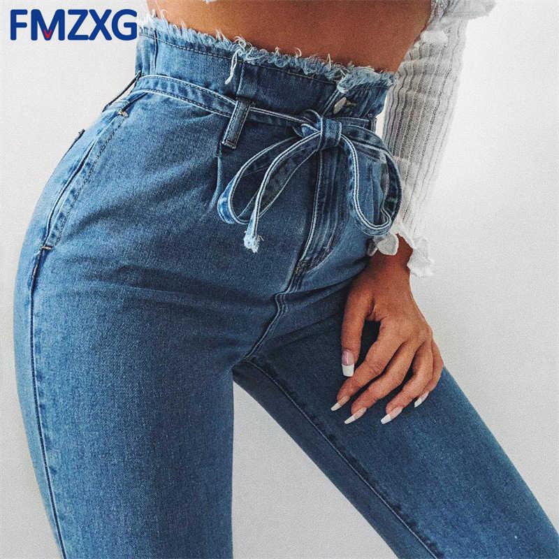 75a79e41fe Faja de cintura alta Jeans pantalones de las mujeres pantalones de verano  de 2018 Streetwear pantalones