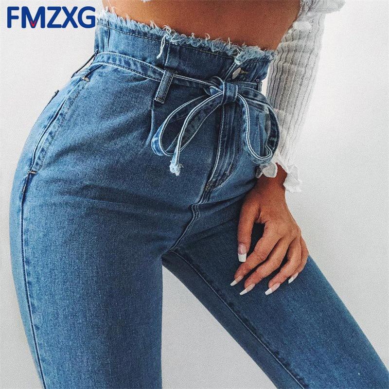 Sash High Waist Jeans Cargo Pants Women Trousers 2018 Summer Streetwear Casual Pants Female Zipper Button Harem Pants Mom Jeans