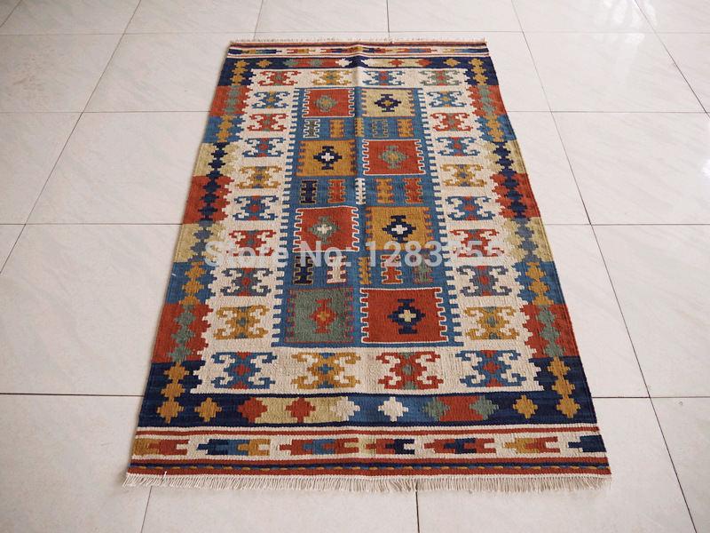 Bohemian Mediterranean style hand-woven wool carpets / Ji Limu kilim rug / free shipping