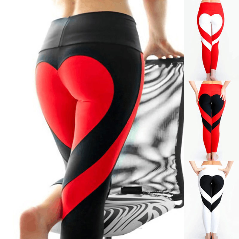 2017 New Europe new ass love Leggings Pants hip stitching elastic waist Leggings