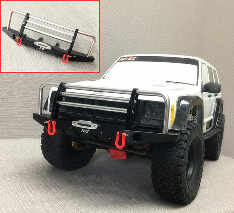 Metal Upgrade Parts Front Bumper Metal Front Bumper Anti Crash w/LED For Axial 90046 Trsxxas TRX-4 TRX4 1/10 RC Car Rock Crawler mxfans 23 pieces alloy upgrade set spare parts for rc 1 10 axial rock crawler