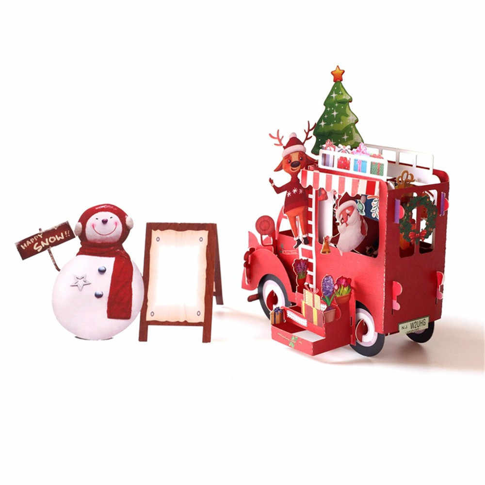 Creative 3D Pop Up Card Christmas Greeting Xmas party Baby Gift for New year gift noel christmas xmas decorations for home New