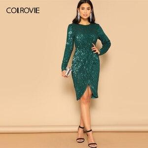 Image 5 - COLROVIE Green Twist talia tulipan Hem cekinowa sukienka na przyjęcie kobiety 2019 wiosna z długim rękawem elegancka obcisła sukienka Sexy Midi sukienka