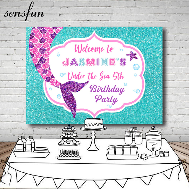 Girls Mermaid Birthday Party Photography Backdrop Customized Under The Sea Blue Backgrounds For Photo Studio Vinyl