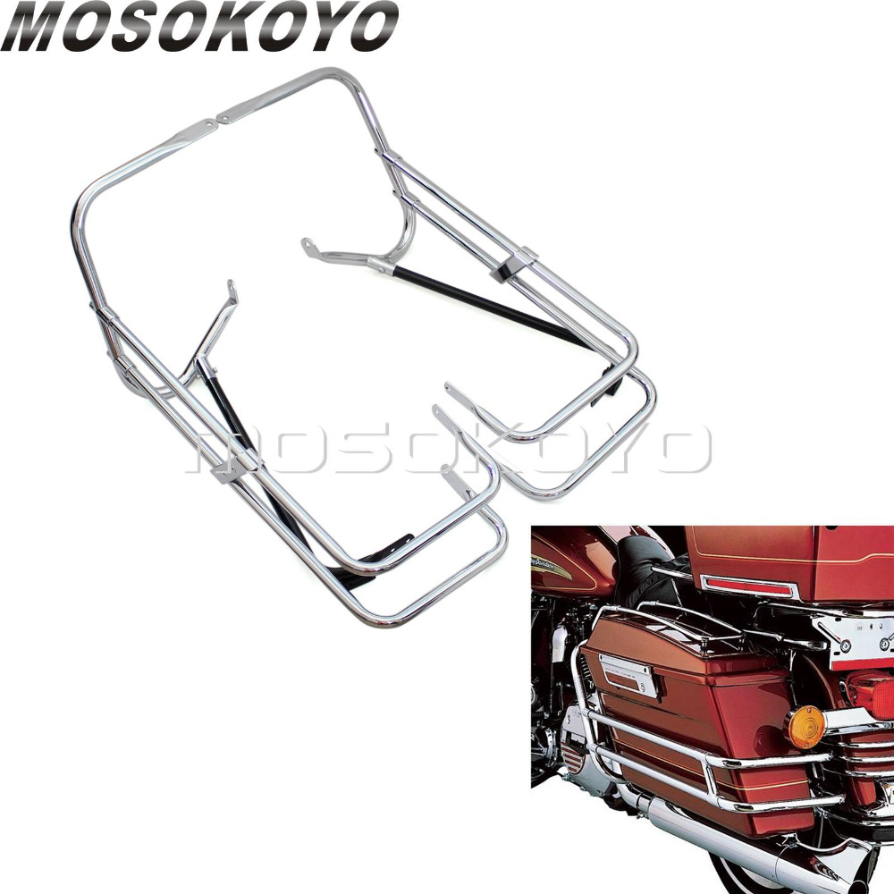 Motorcycle Twin Side Rail Saddlebag Bracket Guard Bars for Harley Road King FLHR FLHT 97-08 FLTR 98-08Motorcycle Twin Side Rail Saddlebag Bracket Guard Bars for Harley Road King FLHR FLHT 97-08 FLTR 98-08