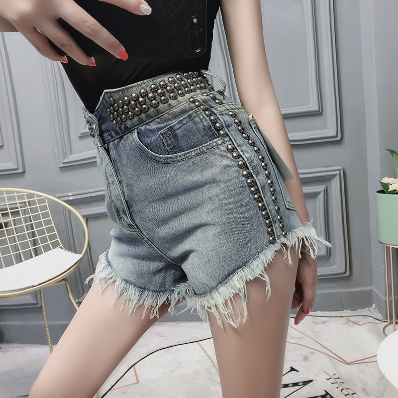 Women's Fashion Vintage Tassel Rivet Ripped High Waisted Short Jeans Punk Sexy Hot Woman Denim Shorts 1950