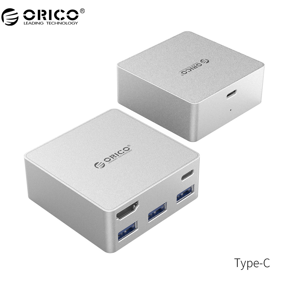 ORICO Type-C HUB USB3.0 HDMI Aluminum Mini Docking Station Multiport Type-C HDMI Type-A PD Function for MacBook Pro-Silver аксессуар адаптер orico type c hdmi silver rch sv