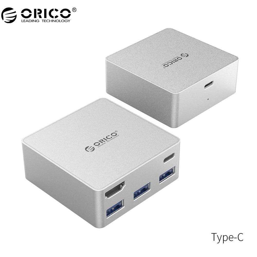 ORICO Type-C HUB USB3.0 HDMI Aluminum Mini Docking Station PD Function for MacBook Pro-Silver(CDHU3) pro skit pd 372 aluminum alloy mini vise blue
