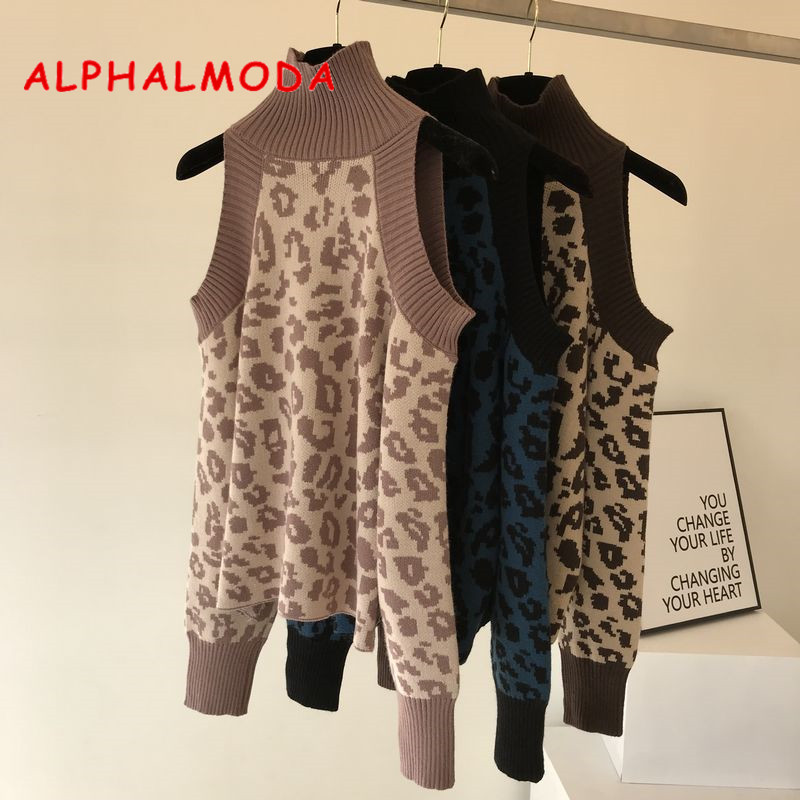 Alphalmoda 2018 Winter Women Leopard Print Sexy Sweater High Collar Off-shoulder Female All Matching Fashion Jumpers Sweaters