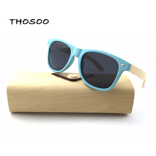 2018 Polarized Lens Water Blue PC Frame Bamboo Wooden Arm Sunglasses