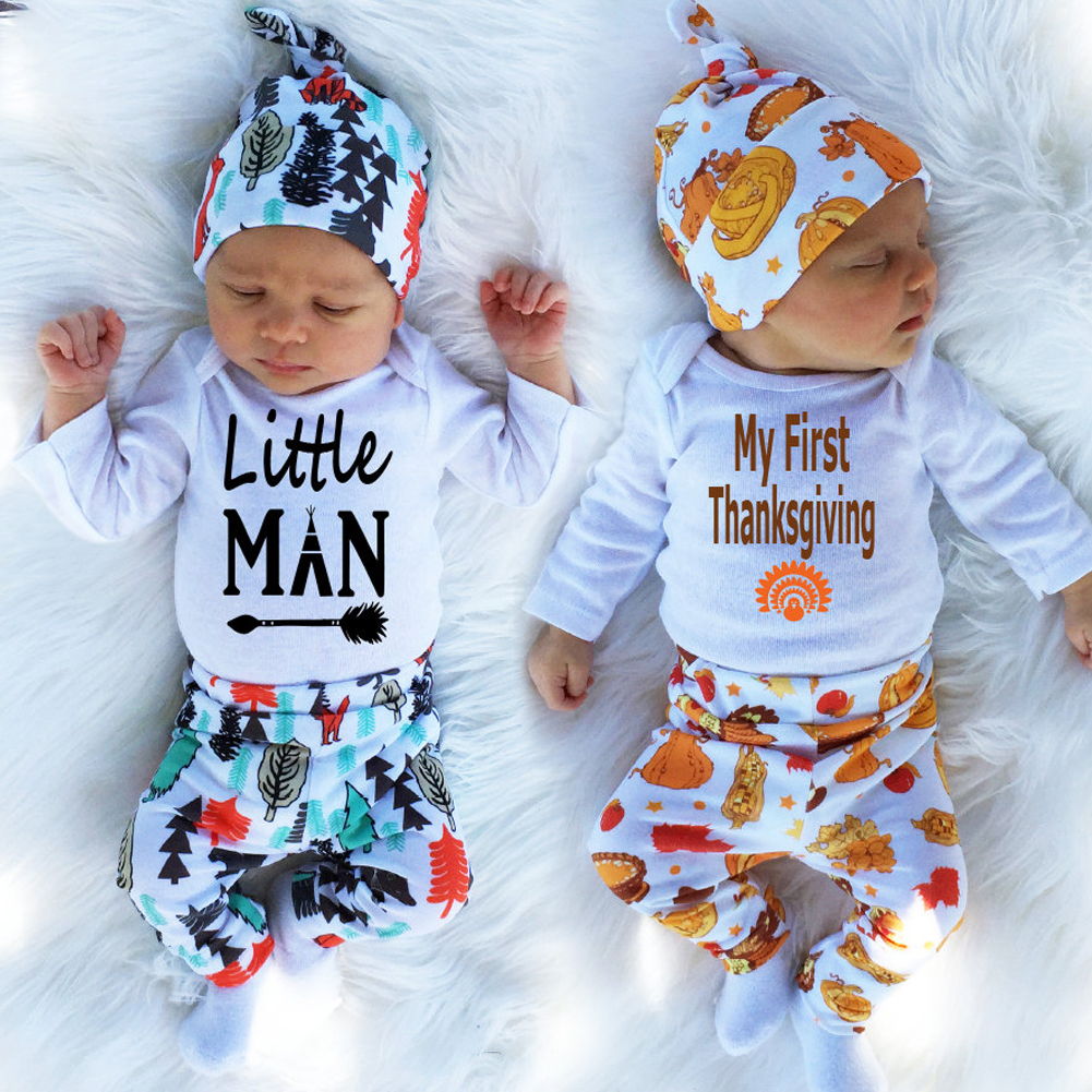 ca6a88c0a3b8a 2018 Baby Boy Clothes Long Sleeve Top + Pants +Hat Sport Suit Baby Boy  Romper Baby Clothing Set Bebes Newborn Infant Clothing-in Clothing Sets from  Mother ...
