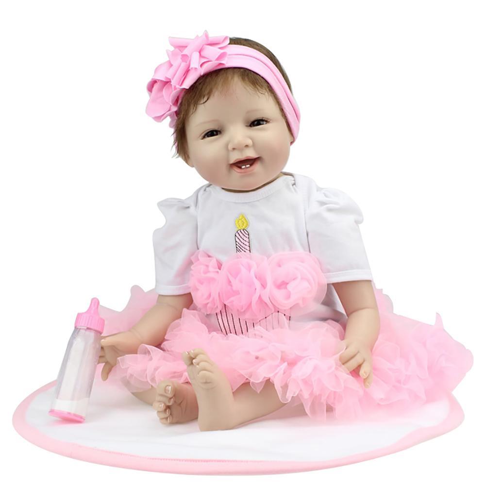 Fashion 55cm Smiley Face Baby Reborn Doll Lifelike Vinyl Silicone Toy Kids Accompany Fashion 55cm Smiley Face Baby Reborn Doll Lifelike Vinyl Silicone Toy Kids Accompany