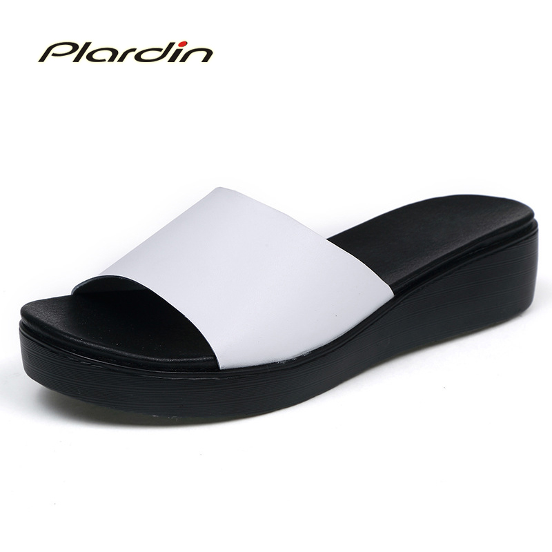 Plardin New Bohemia Summer Casual Women  wedges Flat Sandals Platform Woman Ladies Beach Shoes Flip Flops Genuine leather shoes poadisfoo women sandals summer new vintage style gladiator platform wedges shoes woman beach flip flops bohemia sandal qclr pu2