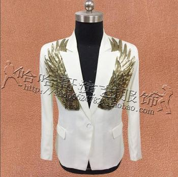 Wing Sequins Suits Mens Designs Masculino Homme Stage Costumes Singers Men Blazer Dance Clothes Jacket Star Style Dress Punk