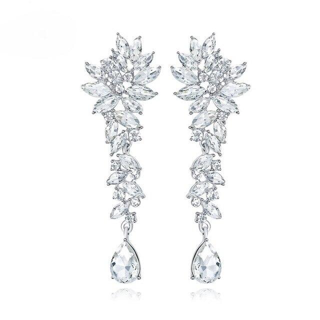 SLBRIDAL Crystals Rhinestones Wedding Dangle Earrings Bridesmaids  Chandelier Earrings Bridal Drop Earrings Women Girls Jewelry f227894de597