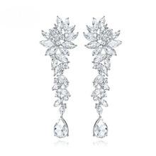 SLBRIDAL Crystals Rhinestones Wedding Dangle Earrings Brides