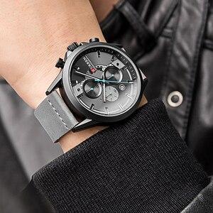 Image 2 - Curren Mens saatler üst marka lüks Chronograph erkekler İzle deri lüks su geçirmez spor İzle erkekler erkek saat adam kol saati