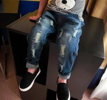 Autumn Winter New Kids Trousers Boys Hole Bottoms Velvet Jeans Children Baby Pants Demin Blue