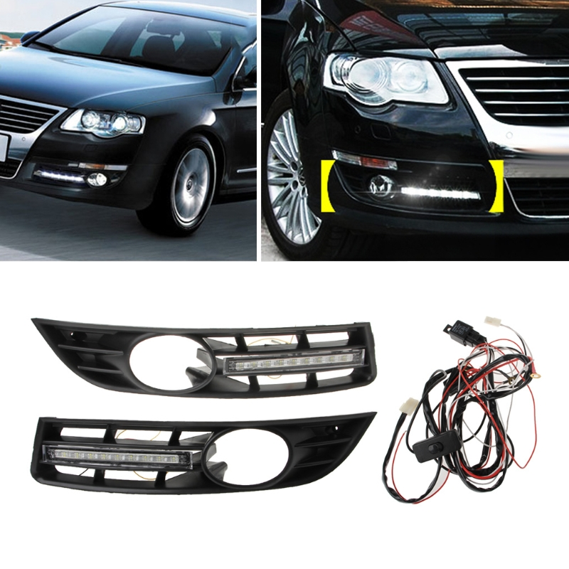 LED Daytime Running Lights DRL Fog lamp cover driving lights for Volkswagen Vw Passat B6 2007 2008 2009 2010 2011 eouns led drl daytime running light fog lamp assembly for volkswagen vw golf7 mk7 led chips led bar version