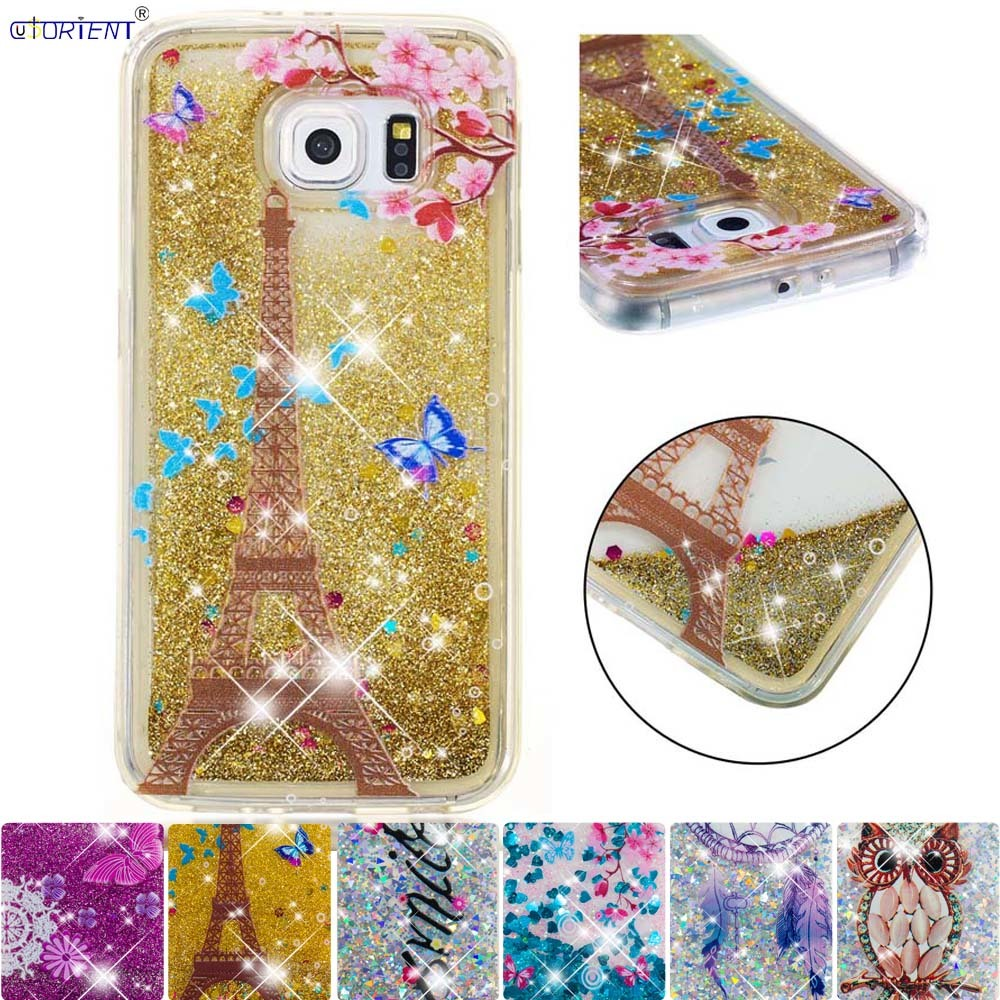 New Fashion Fitted Cover For Samsung Galaxy S6 Cute Glitter Stars Dynamic Quicksand Liquid Phone Case Sm-g920f Sm-g920fd Bumper Cases Funda Waterproof Shock-Resistant And Antimagnetic Phone Bags & Cases