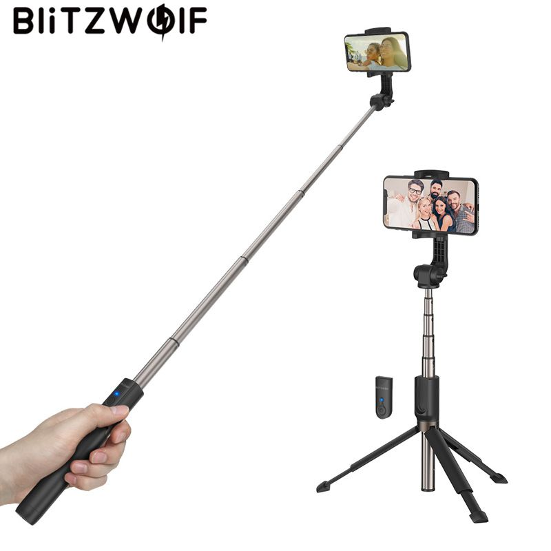 Instock BlitzWolf 3 in 1 Handheld Mini Foldable Extended Multi-angle Rotation Bluetooth Tripod Selfie Stick for Smartphones стоимость