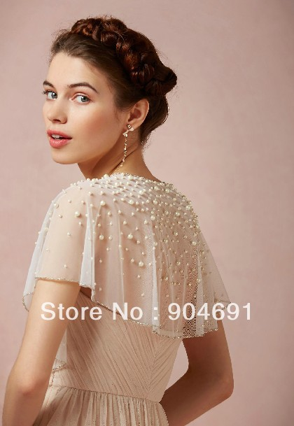Cap Sleeves Shawl Beading Hand Sew Pearls White Ivory Wedding Junebug S Dress And Accessories Gallery
