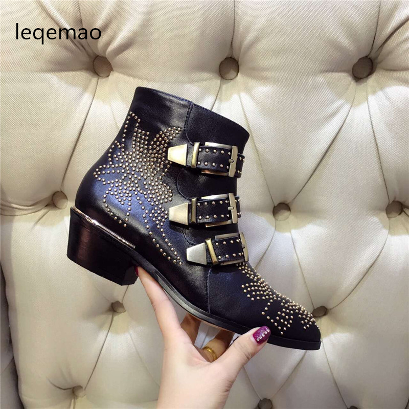 Hot Sale New Fashion Cool Women Sexy Rivets Buckle Ankle Boots High Quality Genuine Leather Med Square Heels Shoes Size 35-42Hot Sale New Fashion Cool Women Sexy Rivets Buckle Ankle Boots High Quality Genuine Leather Med Square Heels Shoes Size 35-42