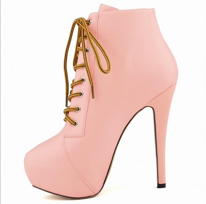 US $43.57 27% OFF|Fashion Fashion Women 11 Color Lita Platforms High Heels Lace Up Boots Ankle Shoes Size 25 61 W836 in Ankle Boots from Shoes on