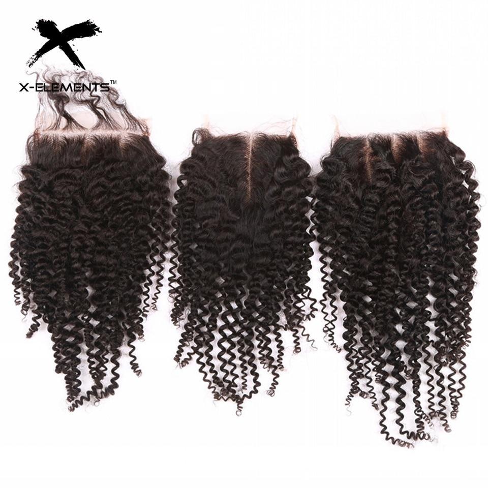 X-Elements 4 * 4 Snörning Lace Non-Remy Kinky Curly Hair Väver - Mänskligt hår (svart) - Foto 4