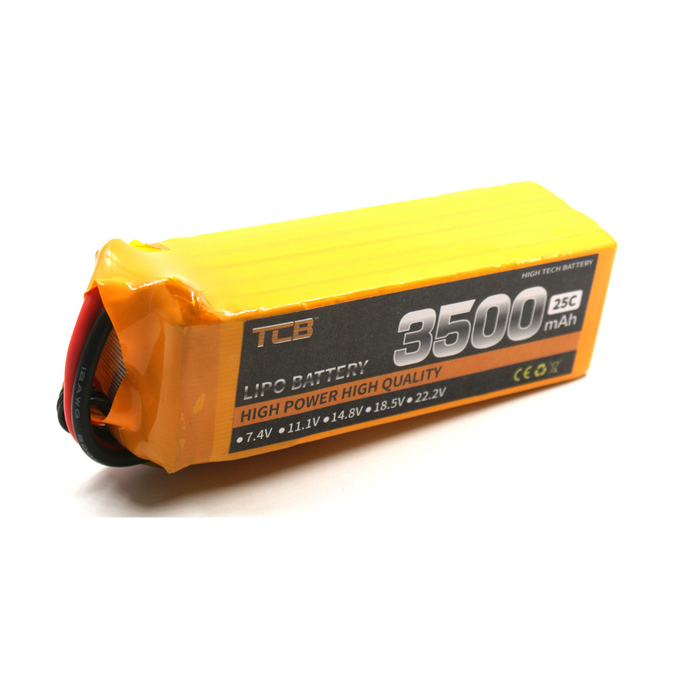 TCB RC lipo battery 22.2V 3500mAh 25C 6s for rc airplane  quadrocopter RC helicopter factory outlet  free shipping