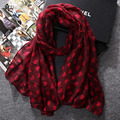 2016 new style fashion hot sale heart print voile woman scarf long square ladies women sun protection shawl wrap free shipping