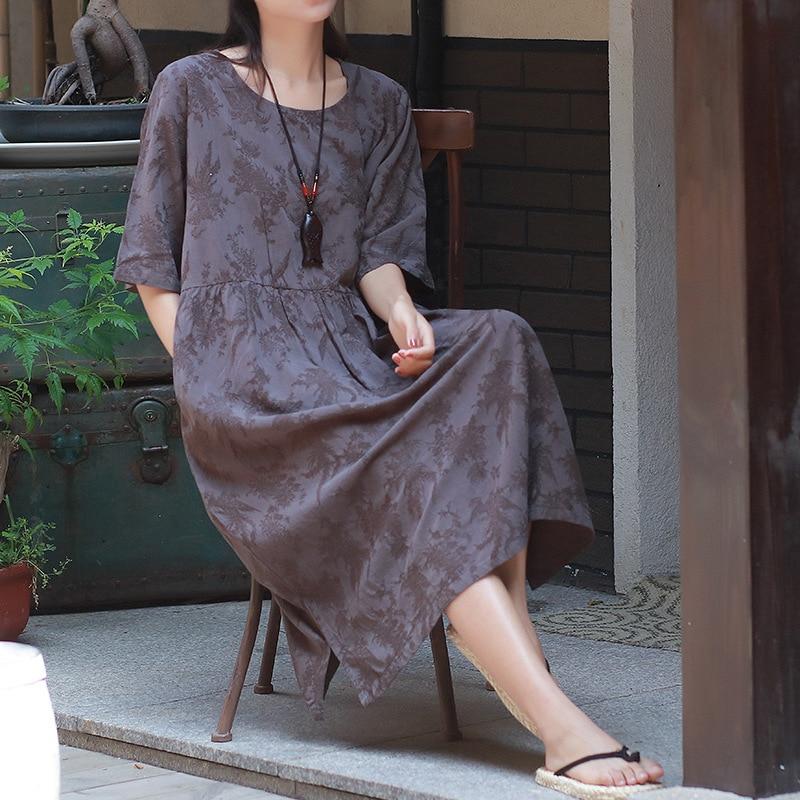 Johnature Cotton Linen Dress Jacquard Vintage O-Neck Short Sleeve 2018 Summer Ne
