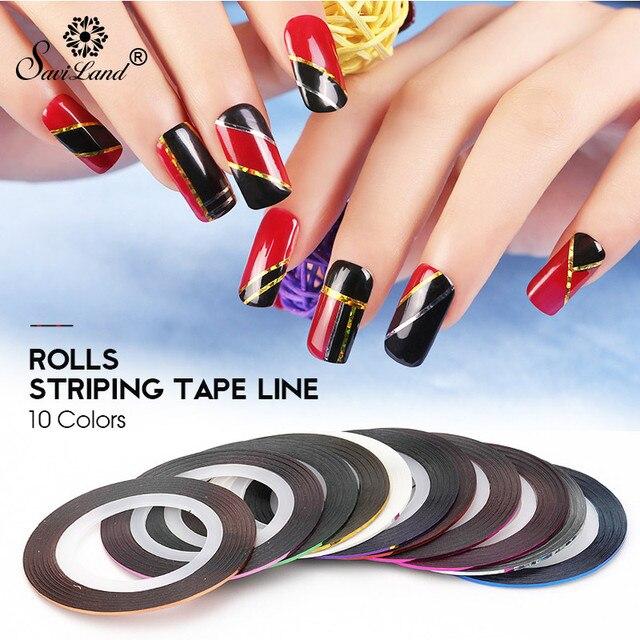 Saviland 10 teile/los Mix Farben Rolls-klebeband-linie Nail art DIY Polnischen Glitter UV Gel Acryl Nagel Aufkleber Werkzeuge