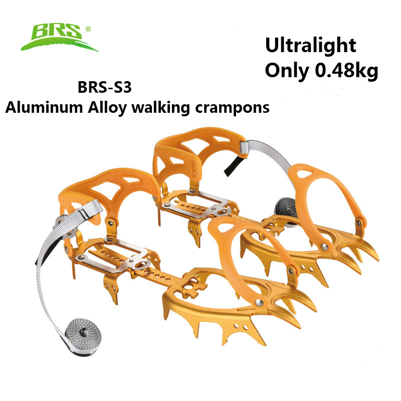 BRS 14 Teeth Ultralight Claws Crampons Non-slip Shoes Cover Aluminum Ice Gripper for Outdoor Ski Ice Snow Hiking Climbing round snow ice climbing mountaineering shoes crampons orange pair