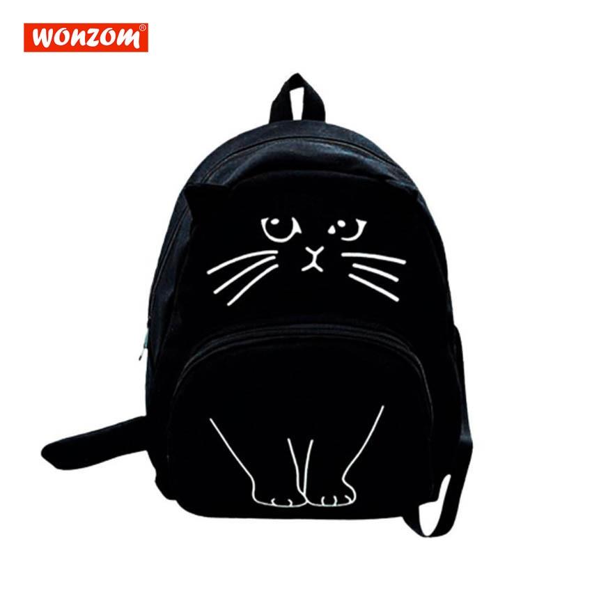 WONZOM Women Canvas Backpack School Bags For Teenagers Ladies Lovely Cat Printing  Backpack Casual Cute Rucksack Bookbags b61fd17ab9