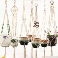 Macrame Plant Hanger Katoenen Touw Indoor Outdoor Opknoping Planter Mand Netto Pocket Huis & Tuin Decoratie G0007