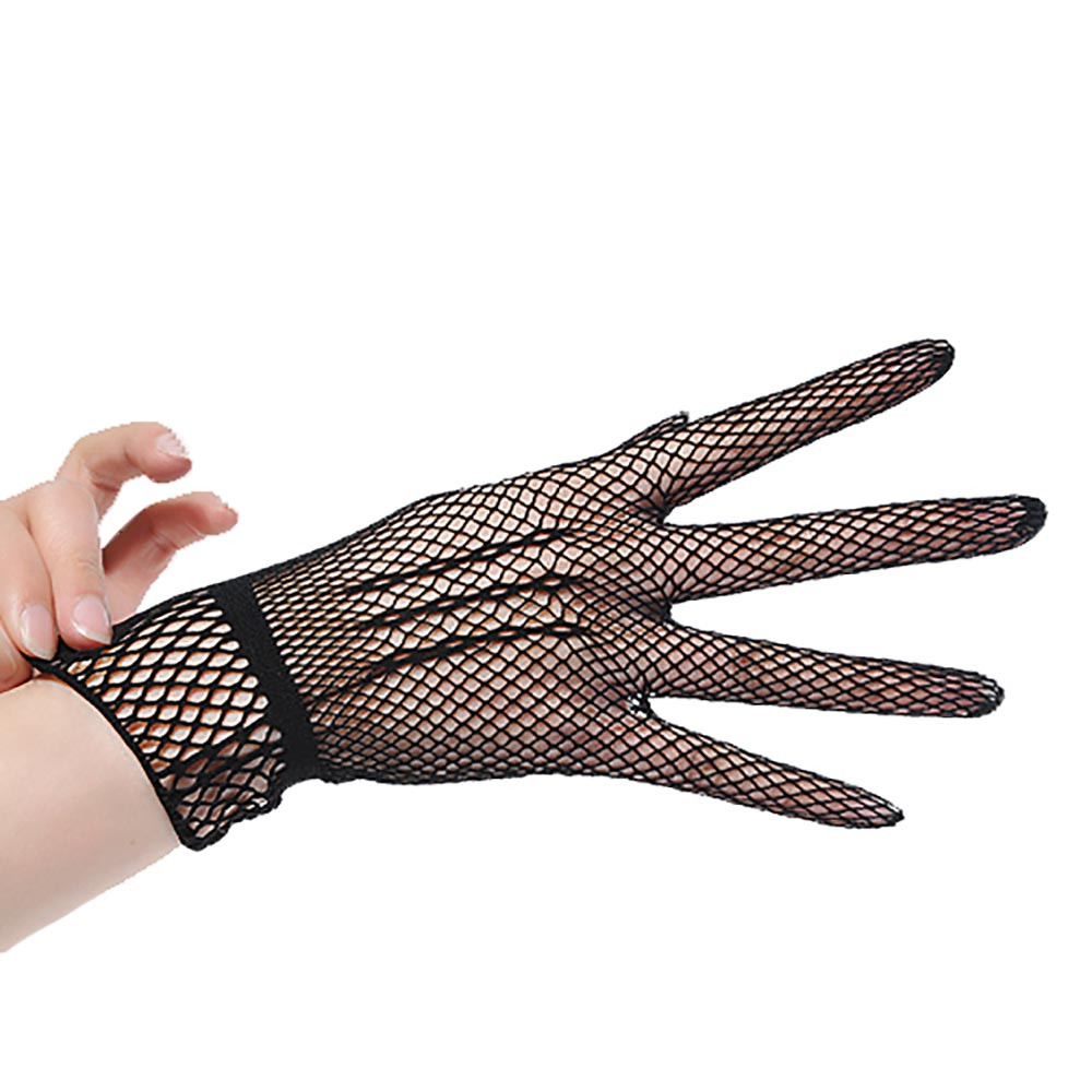 Gothic Steampunk Ladies Mesh Stretchy Short Full-Finger LACE GLOVES Black// White