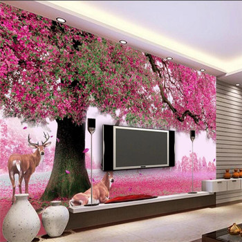 Fantasy big tree sika deer cherry red leaf TV background wall professional production wallpaper mural custom poster photo wall romantic mediterranean style background wall professional production mural wholesale wallpaper mural poster photo wall
