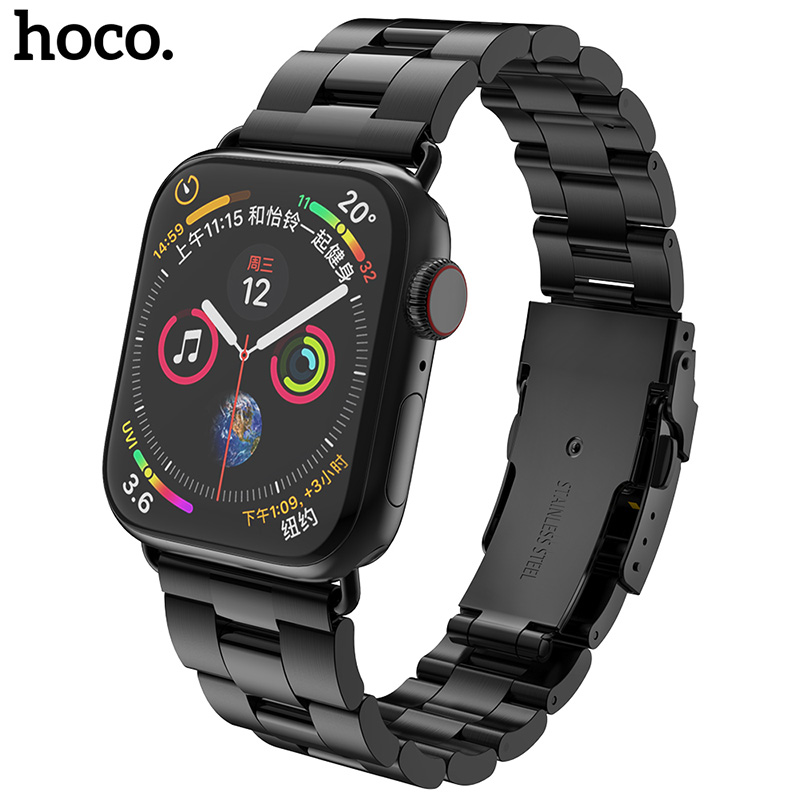 HOCO 2019 Stainless Steel Strap for Apple Watch Band 40mm 44mm Double Safety Buckle Smart i Series 4 3 2 1