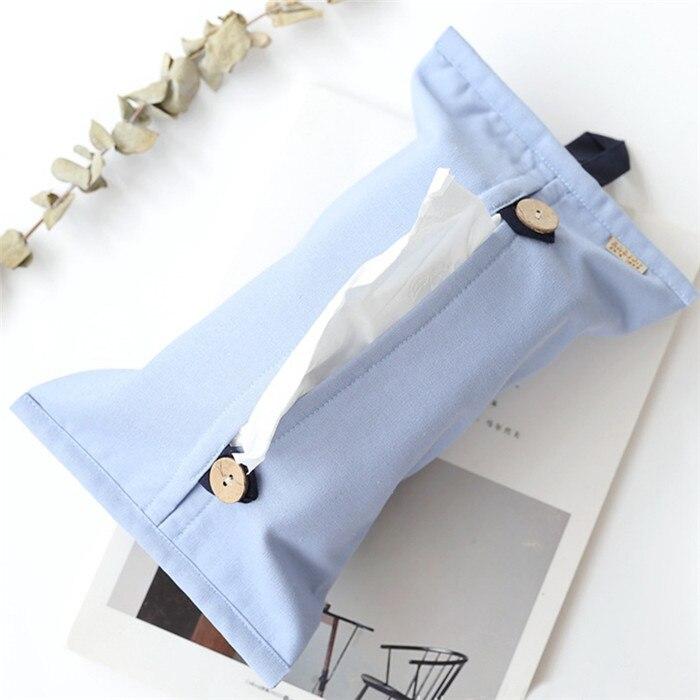 Твердые Цвет с одноразовыми салфетками хлопковое Льняное полотенце Бумага s сумка для хранения Органайзер для хранения автомобиля унитаз бумажные салфетки, носовые платки Обложка Настольный Декор - Цвет: B