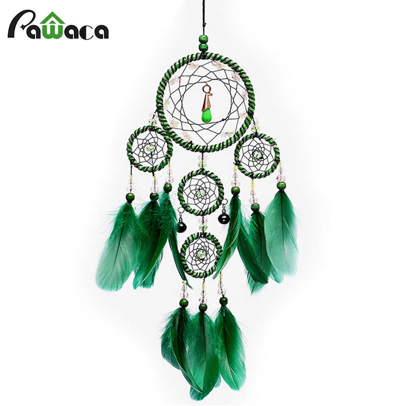 Handmade Purple Green Dream Catcher Hanging Wall Decoration Feather Dreamcatcher Winde Chimes Home Wall Art Hangings Decorations
